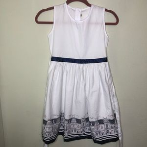 Girls White and Navy Dress with Houses Size 12